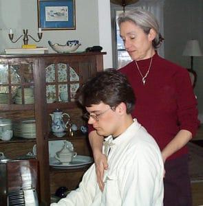Martha Hjortshoj teaching Alexander Technique to a musician