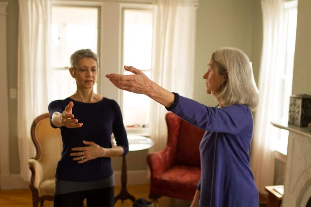 Martha teaching Alexander Technique in her home in Ithaca NY